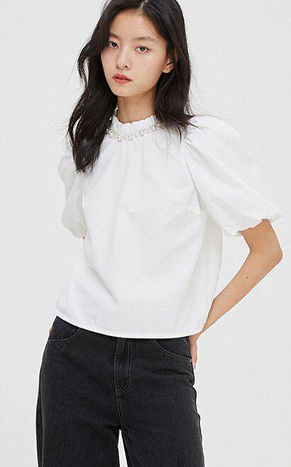 簡約氣質珍珠亮鑽短款襯衫, 白, large