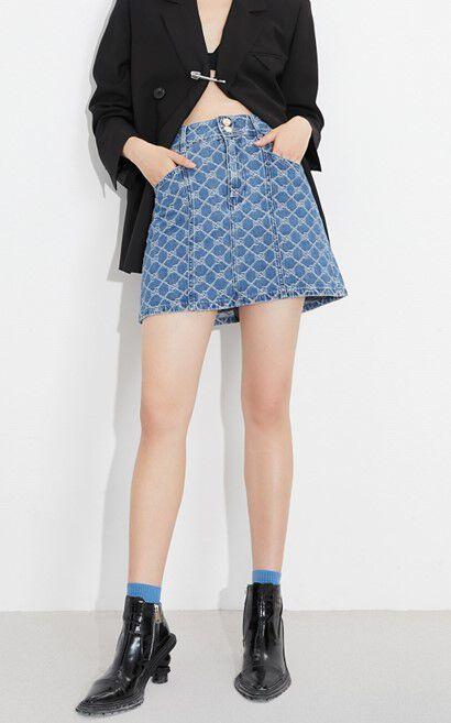 摩登印花高腰牛仔短裙, 藍, large