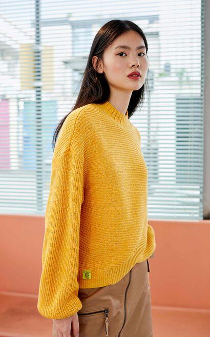 氣質微高領不對稱設計針織上衣, 黃, large