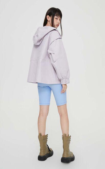 連帽工裝風休閒風衣外套, 紫紅色, large