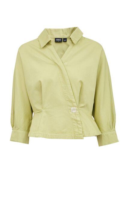 簡約V領不對襯短版上衣, 翠綠, large