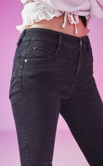 【魔力線雕褲】修身提臀拉鍊九分丹寧褲, 黑, large