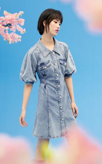 復古燈籠袖牛仔連身裙, 藍, large
