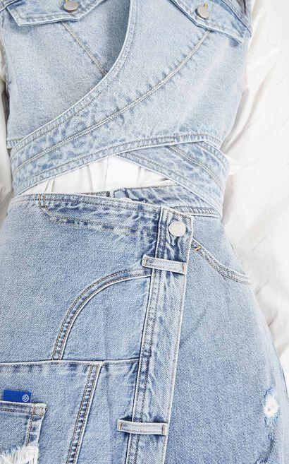 不規則拼接丹寧短裙, 藍, large