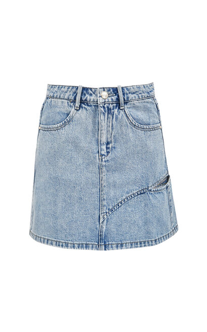 高腰顯瘦做舊牛仔短裙, 藍, large