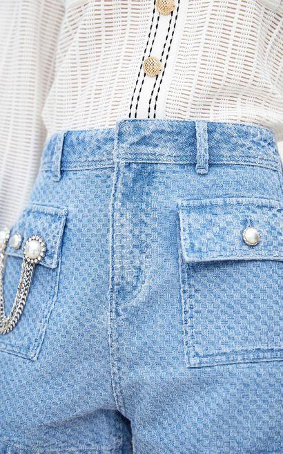 高腰直筒百搭牛仔短褲, 藍, large