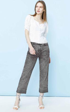 ONLY 寬鬆直筒純棉高腰九分牛仔褲|120149580