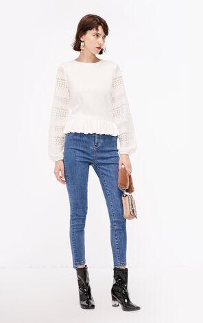 秋季新款蕾絲鏤空袖毛衣針織衫女|118313565