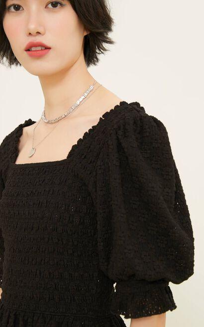 甜美碎花短版上衣, 黑, large