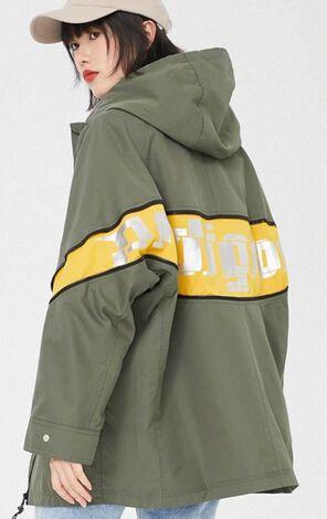 時尚拼接抽繩大口袋連帽風衣外套