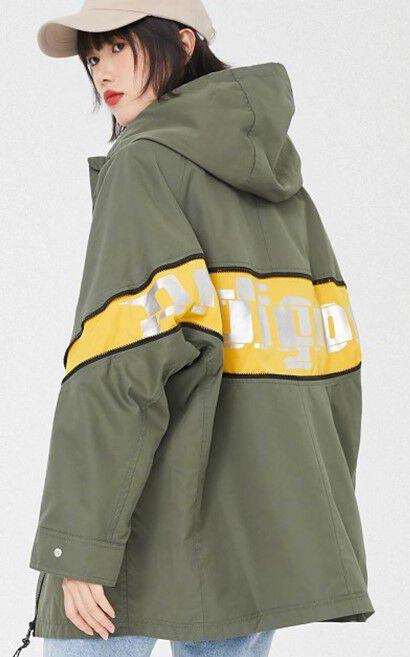 時尚拼接抽繩大口袋連帽風衣外套, 深綠, large