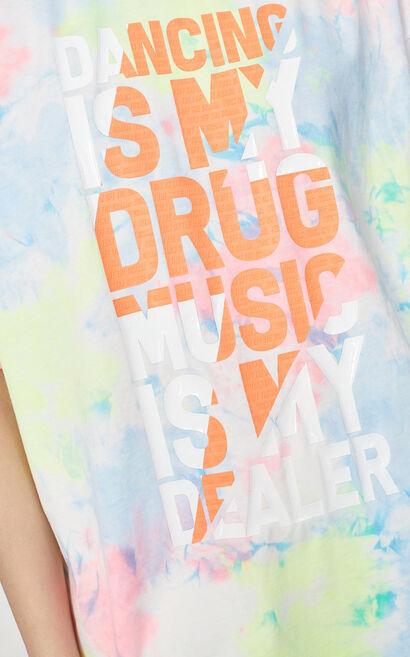 字母紮染印花圓領上衣, 粉色, large