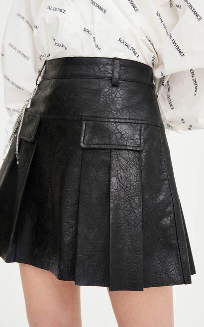 率性俐落多口袋鏈條設計百褶短裙, 黑, large