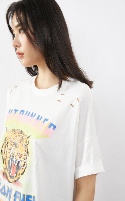 印花寬鬆破壞圓領T恤, 白, large