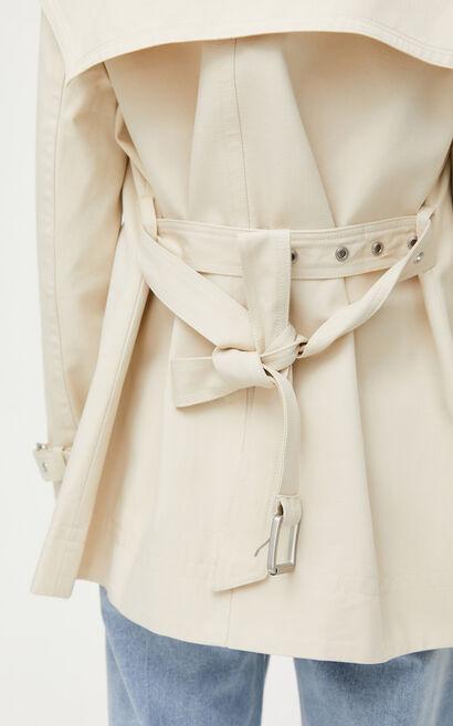時尚修身純色雙排扣風衣外套, 米色, large