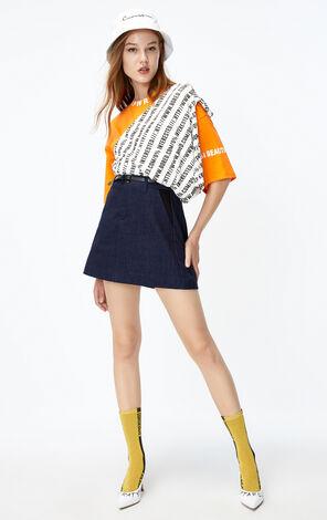 ONLY2019秋季新款高腰A字牛仔短裙 119337517