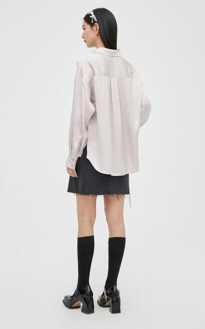 時尚氣質純色長袖寬鬆襯衫, 紫色, large
