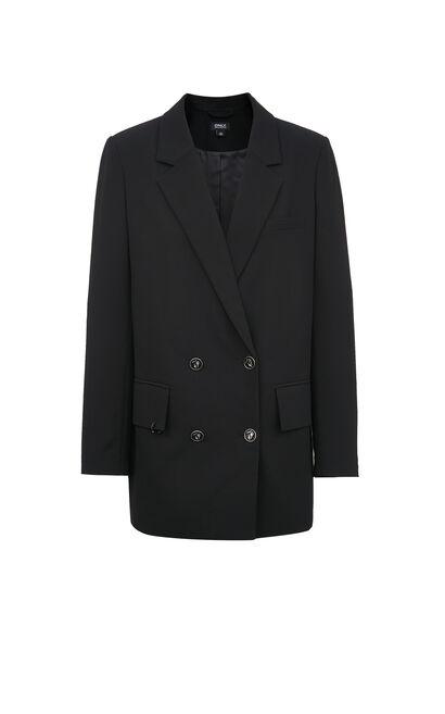 【2件8折】中長款休閒墊肩西裝外套, 黑, large