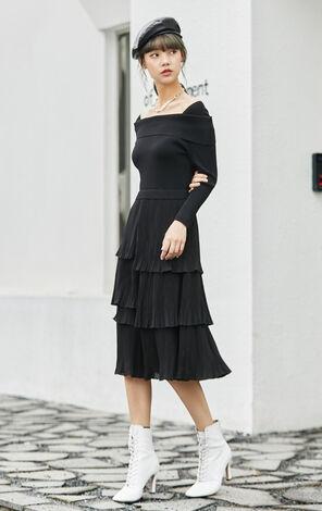 黑色簡約一字領設計洋裝