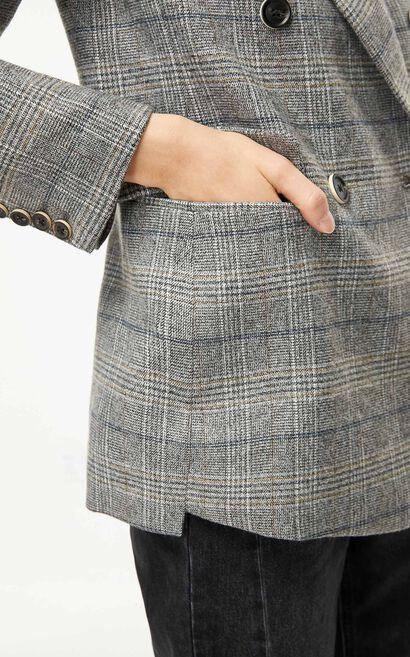 格紋毛呢雙排扣西裝外套, 灰白色, large