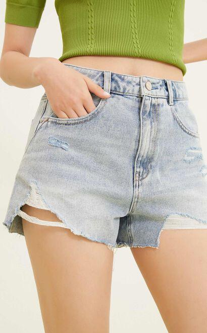 毛邊裝飾牛仔短褲, 藍, large