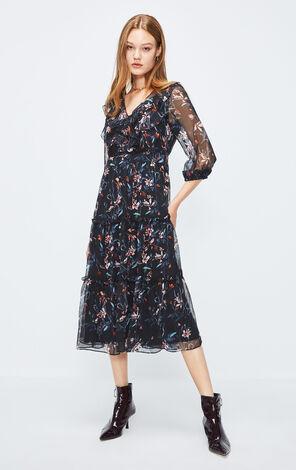 ONLY2019秋季新款荷葉邊雪紡洋裝