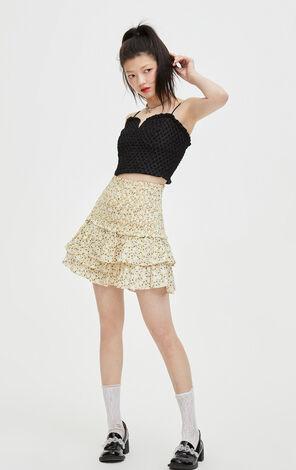 優雅碎花多層短裙