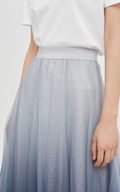甜美迷人修身顯瘦A字中長裙, 灰色, large