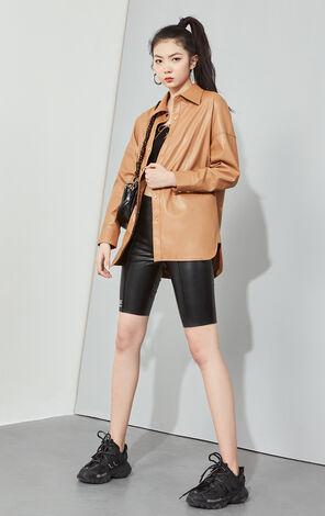 【秋冬新款】時髦寬版PU皮衣外套