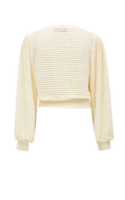 V領鑲鑽蝴蝶結短版雪紡上衣, 白, large