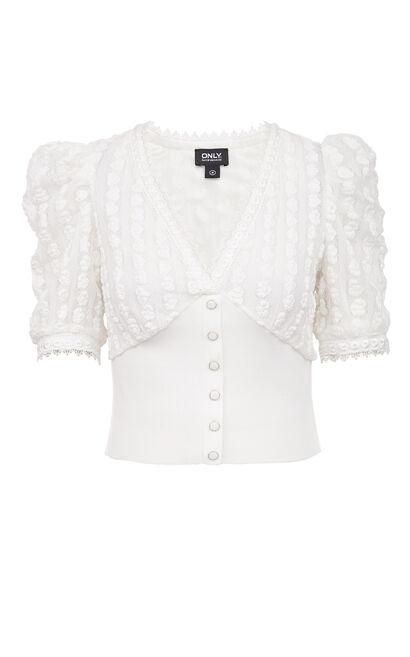 V領蕾絲愛心上衣, 白, large