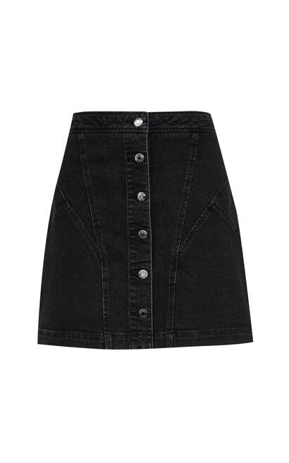 單排扣A字牛仔短裙, 黑, large