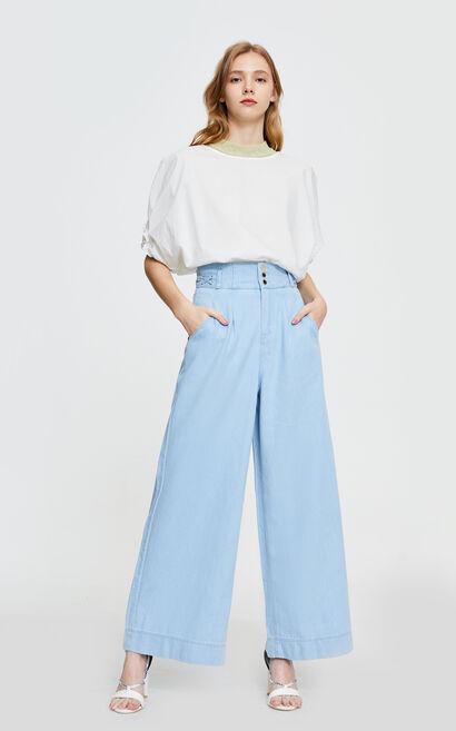高腰淺色牛仔寬褲, 藍, large