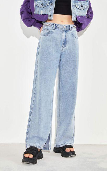 率性褲管開叉高腰直筒牛仔褲, 藍, large
