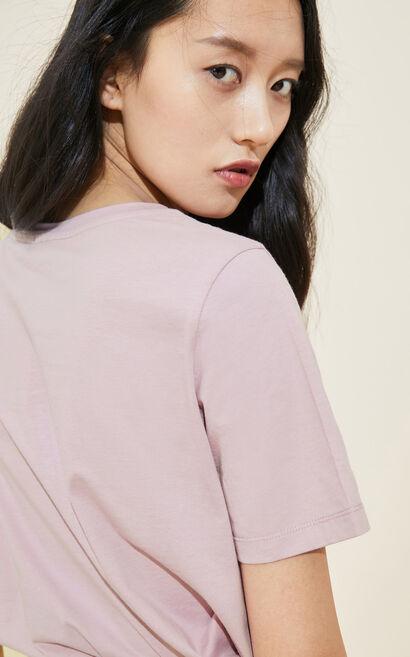 貓咪刺繡圓領寬鬆T恤, 艷粉色, large
