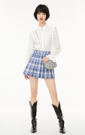 法式荷葉泡袖繫帶襯衫