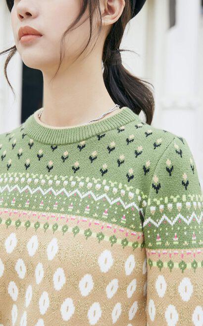 復古撞色緹花針織上衣, 綠色, large