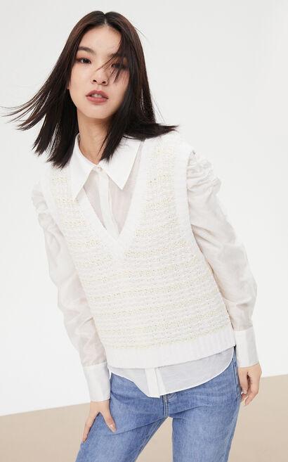 復古泡泡袖兩件式毛背心襯衫, 白, large
