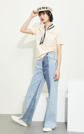 ONLY 甜美寬鬆休閒絲巾領短袖T恤|120201549