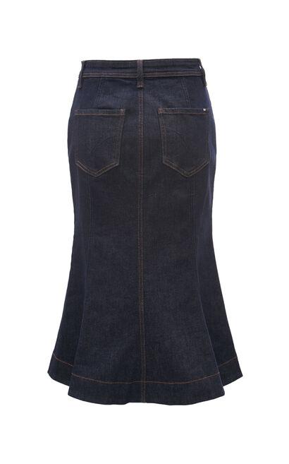 氣質別緻愛心鈕扣魚尾牛仔裙, 藍, large
