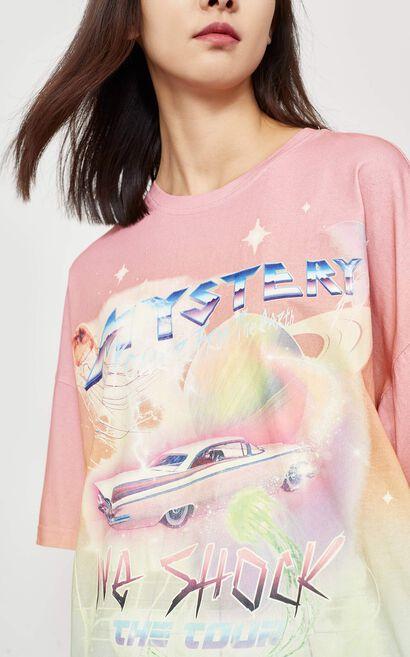 個性印花圓領短袖T恤, 粉色, large