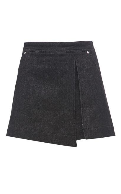 時尚百搭高腰多口袋裝飾牛仔短褲, 黑, large
