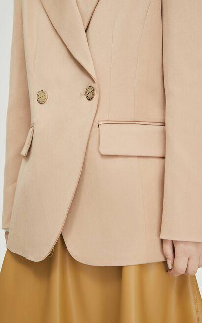 時尚簡約通勤風西裝外套, 米色, large