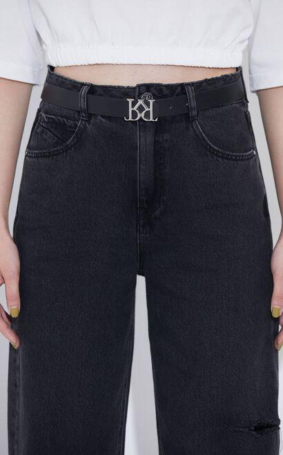 時尚百搭高腰顯瘦直筒長褲牛仔褲, 灰色, large