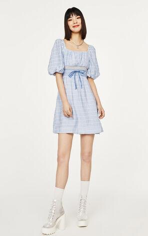 法式簡約泡袖格紋洋裝