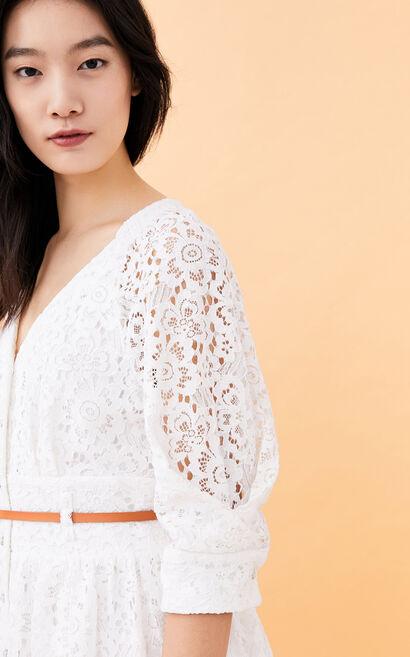 流蘇V領五分袖碎花洋裝, 白, large