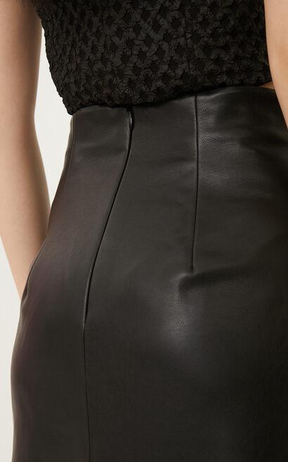 時尚俐落高腰修身綁帶開叉純色中長裙, 黑, large