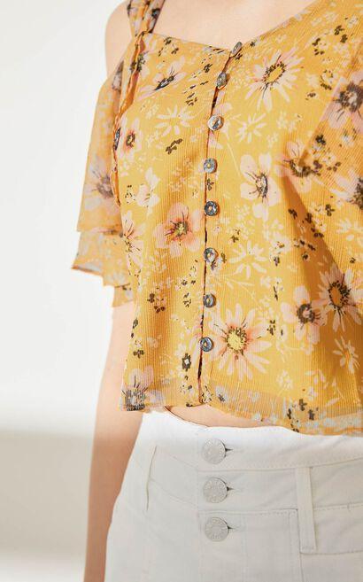 氣質碎花露肩襯衫, 黃, large