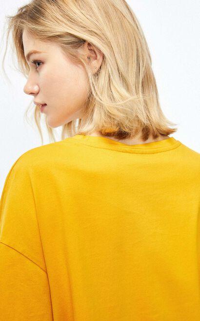 落肩卡通印花短袖T恤, 黃, large
