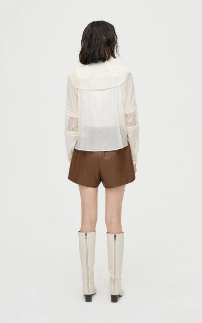 歐系風格氣質蕾絲拼接襯衫, 杏色, large